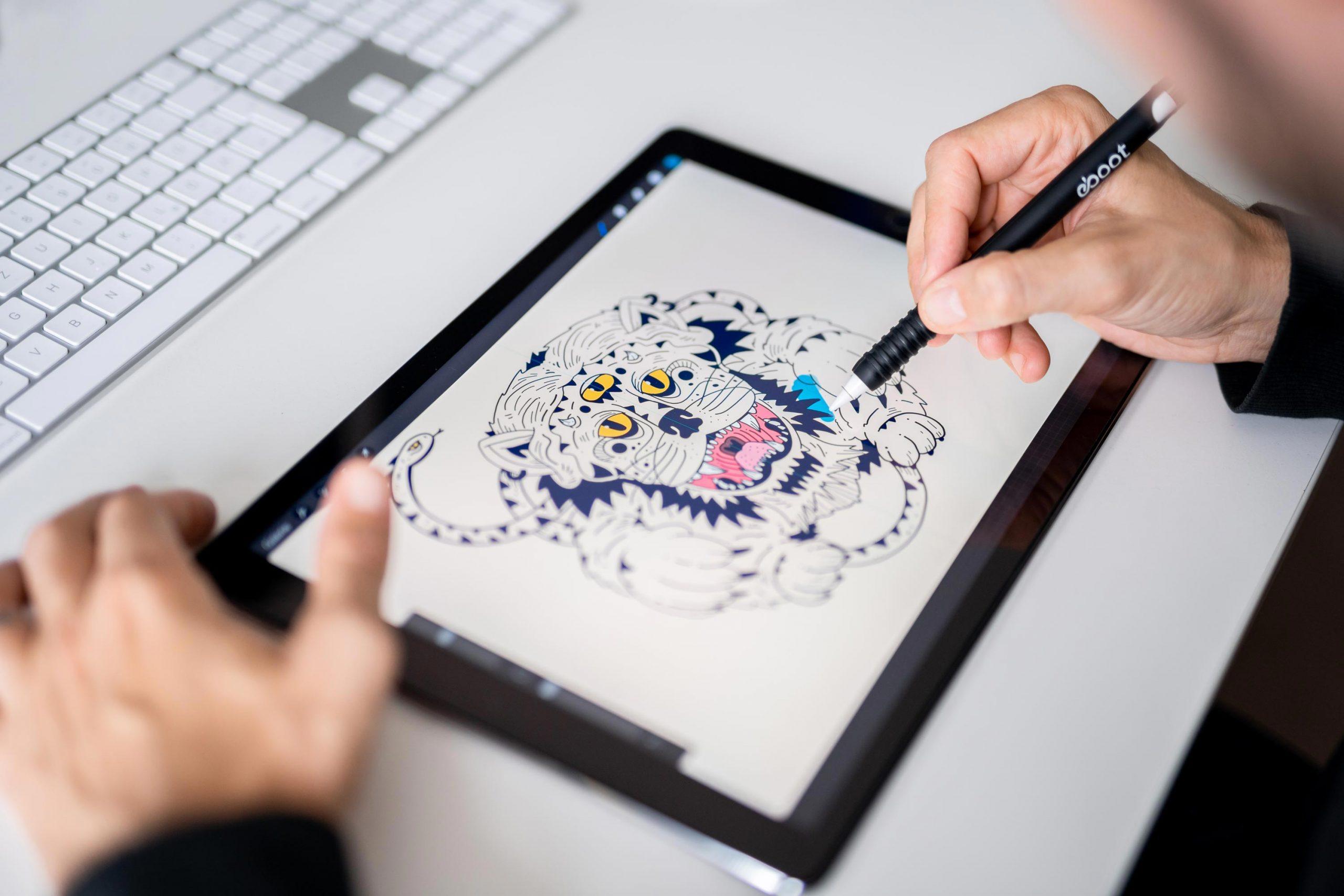 Ipad Illustration am Arbeitsplatz