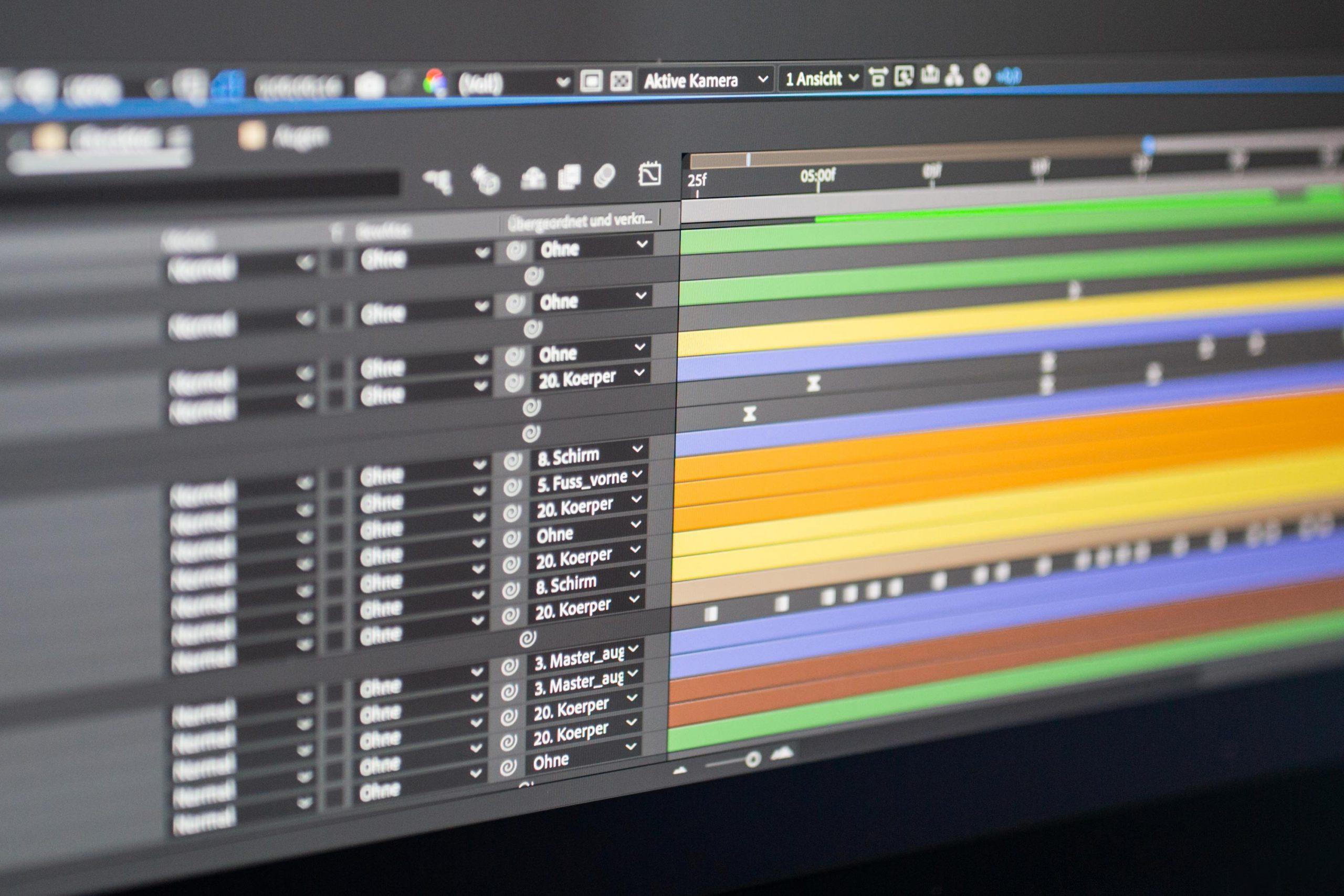 Zeitleiste des Programms Adobe After Effects